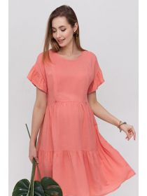 ANNABELLE DR-21.102 Вільна сукня з оборками для вагітних і годуючих із віскози з фактурою льону.